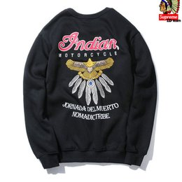 Wholesale 2016 Harajuku indian Embroidery eagle feather hoodies and sweatshirts motorcycle style pullovers Fleece men streetwear hip hop