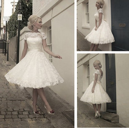 2014 Vintage Short Wedding Dresses Hot Sales Scoop Neckline Cap Sleeve Bow Sash A-Line Tea Length Bridal Gowns In Stock W211