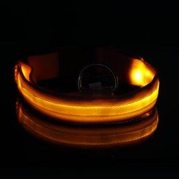 Wholesale-8 Colors Pet Night Safety LED Collar Pink Nylon Flashing-up Glow Light Collar S M L XL