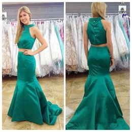 Elegant Green Two Pieces Evening Dresses 2016 Satin High Neck Sleeveless Mermaid Prom Dresses Sweep Train Formal Long Party