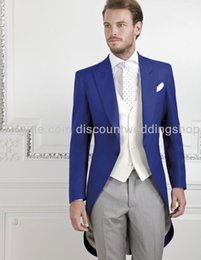 Wholesale Morning Style One Button Royal Blue Groom Tuxedos Peak Lapel Groomsmen Best Man Suits Mens Wedding Suits Jacket Pants Vest Tie NO