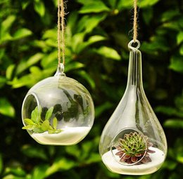 Wholesale 2 set glass hanging terrarium air plant vase for home decoration or garden ornament