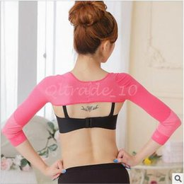 Wholesale 10pcs CCA3407 High Quality Candy Color Women Slim Arm Shaper Top Shoulder Correct Back Posture Prevent Humpback Long Sleeve Arm Shaper
