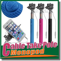 Wholesale with groove Monopod Extendable Self Timer Handheld With Cable Z07 plus Cable Monopod selfie stick For Iphone Samsung galaxy Note