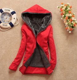 Wholesale Han edition of new fund of autumn winters is female college looser and more wool cardigan zipper hooded fleece big yards of cotton blou