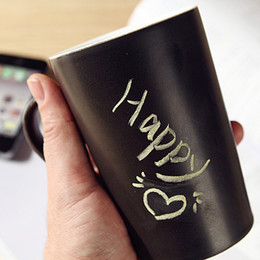 Wholesale Message Mug Cup Ceramic Leave a Message Novelty Matt Black Hand Painting Cup Coffee Mug OZ