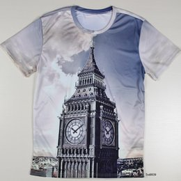 Wholesale w151231 Personalized London Big Ben d Men T Shirts European Style Short Sleeve Round Neck Fire Balloon Male tshirts Casual Top Quality