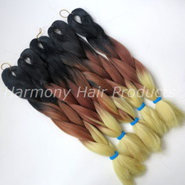 Kanekalon Jumbo braid hair 20inch 100g Black&Brown&Blonde Ombre three color tone Expression Synthetic Braiding hair extensions in stock