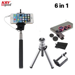 Wholesale-6in1 3in1 Clip On Camera Lens Kit Fisheye 0.67 Wide Macro lens for Cell Phone with Wired Selfie Stick Tripod holder JZS06