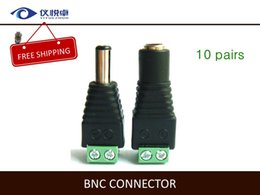 Wholesale BNC Cable Connector Adapter Solderless Power Plug DC Jack mm Security CCTV Camera System W49 PAIRS
