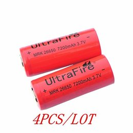 Wholesale 4pcs UltraFire red color Battery V mAh Rechargeable Li ion Battery Energy Torch flashlight Battery