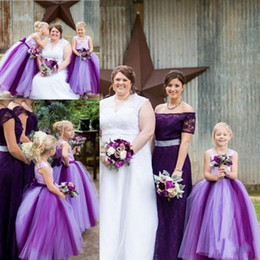 2015 Flower Girls Dresses with Straps Two Colors Purple Wedding Daughter Little Bridal Gowns Cheap Long Flower Girls Dresses with Bow