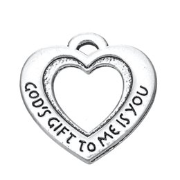 10pcs god's gift to me is you engraved on heart double sides charm