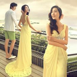 New Yellow Fashion Chiffon A-line V-neck Beading Rhinestones Floor-length Prom Evening Dress 2015 vestido de festa longo