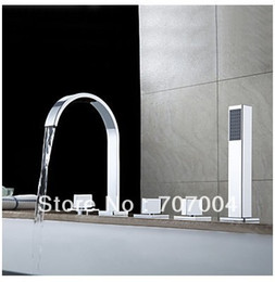 Wholesale New Chrome Polished Widespread Waterfall Roman Deck Mounted Bath Tub Tap Faucet Set Combo W Handheld Shower