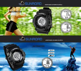 Wholesale New Sunroad FR821A ATM Altimeter Compass Stopwatch Fishing Barometer Pedometer Outdoor Sports Watch Multifunction H11938