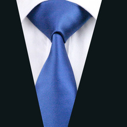 Solid Blue Necktie for Men Jacquard Woven Silk Tie Business Party Formal Meeting 8.5cm Width Necktie D-0429