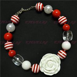 chunky bubblegum candy big ball beads white rose flower kids necklace lovely CB009