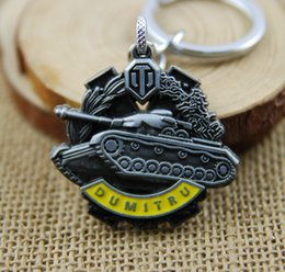 Wholesale 2016 Halloween Gift Keychain keychain Keychain movie Tank World DUMITRU Medal Keychain Zinc Alloy Keychain Army fans accessories