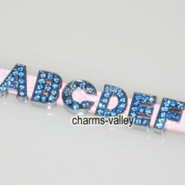 260pcs A-Z Letters 8MM Light Blue Rhinestone Slide Letters Charms Fit 8MM Belts Bracelets Charms Cheap Charms