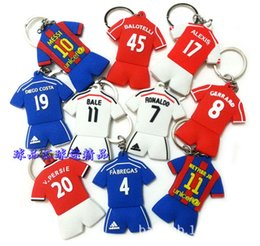 Wholesale BY DHL New Soft PVC Rubber Soccer Jersey Key Chains Football Shirt Keyrings for Fans