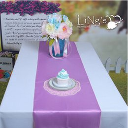 Wholesale Hot Sale cmX275 cm Light Purple Satin Table Runners Wedding Banquet Cloth Runner For Festive Holiday Party Supplies