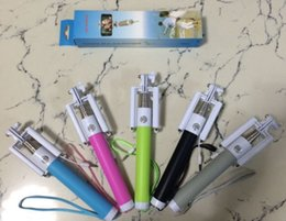 Wholesale Newest Folding Selfie Stick Monopod With Audio Cable Wired Well Fashion Equipment For Taking Photoes Foldable Wired selfie monopod