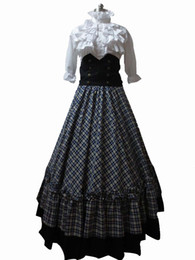 Victorian Gothic Ball Gown Reenactment Stage Punk Blue Tartan Lolita Dress Costume H008