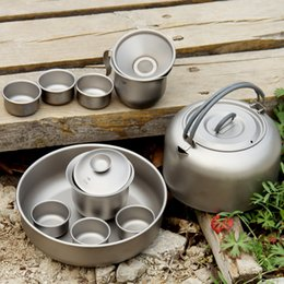 Wholesale Keith armor titanium pot tea set lightweight titanium outdoor portable teapot high end gifts KA100