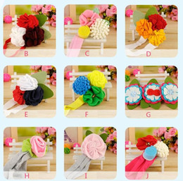 2016 NEW baby hair ornaments Girls headbands children's colourful farbric fower ribbon 16 styles for choices