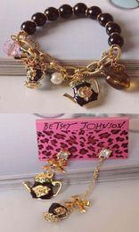 Wholesale NEW Betsey Johnson Fashion black teapot bracelet earrings