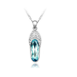 Crystal Shose Pendant Necklace For Women Best Gift 18K Alloy Full Rhinestone Chain Necklace Fashion Fine Best Jewelry 8160