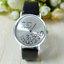 Wholesale Vosicar Hot Women Fashion Beautiful Who Cares I am Late Anyway PU Leather Alloy quartz Watches