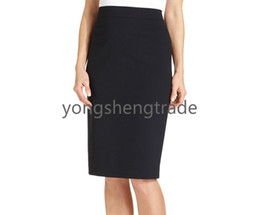Latest Style Navy Skirt Tropical Wool-Blend Long Pencil Skirt Can Be Worn Year-Round Slit At Center Back Full Lined
