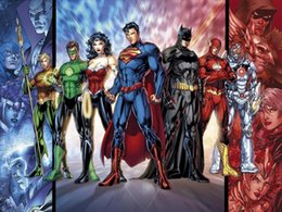 "Justice League Movie Fabric poster 32"" x 24"" 17"" x13"" Decor --05"