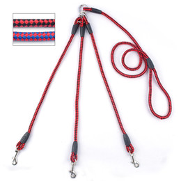 Nylon Braided Rope Three Way Couplers Pet Walking Leads 1 Leash For 3 Dogs