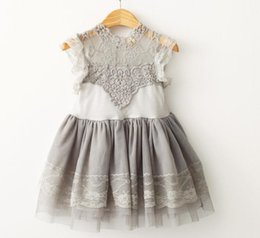 Wholesale Baby Girls Cotton Lace Puff Sleeve Summer Ball Gown Dresses Princess Fairy Tulle Party Dance Dress Crochet Lace Flower Tops Tutu dress A6595