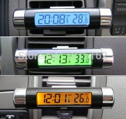 Wholesale Mini electronic clock for car digital car clock thermometer automotive clock digital LCD backlight car watch
