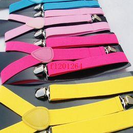 Free Shipping Candy Colors Kids Y-back Suspenders Adjustable Clip on Elastic Braces Children Belt Baby Straps 100pcs lot