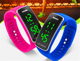 Wholesale SKMEI New LED Wristbands Watch Student Child Sports Fitness Date Back Light Individuality Jelly color Lovers Wristwatches