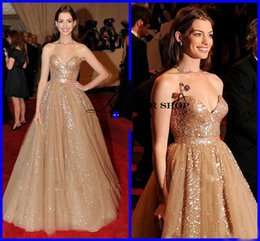 Wholesale Sequin Ruched Sash Dazzling celebrity evening dresses Sweetheart Anne Hathaway A Line Train Celebrity Dresses Prom Gowns WH3012