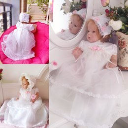 Wholesale Infant Baby Girls year Cotton Lining Lace Cap Sleeve Organza Formal Chrisom with Vest Hat Dress Princess Dresses Girl Child Cloth