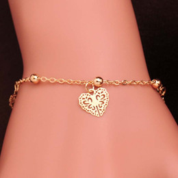 Newest Design 18K Gold Filled Anklets Fashion Women Heart FOOT CHAIN golden color bracelet Party Gift Bangle Jewelry