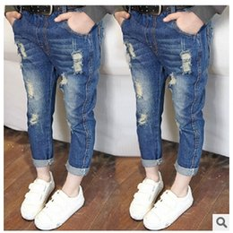 Wholesale Kids Boy Girl Jeans Fashion Private Ripped Jeans NEW ARRIVAL GOOD QUALITY suit for T Freeship