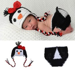 Penguin Newborn Baby Girls Boys Crochet Knit Costume Photo Photography Prop Outfits