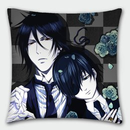 Wholesale Sebastian Anime - Hot Japanese Anime Pillowcase Black Butler Sebastian Michaelis Ciel Phantomhive Pillow cover Pillow case 40cmx40cm