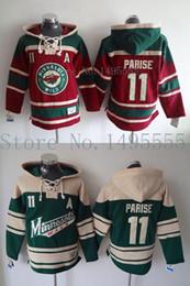 2016 New, Minnesota Wild #11 Zach Parise Jerseys Old Time Men's Double stiched Hoodies Hockey Jersey Green Sweatshirt