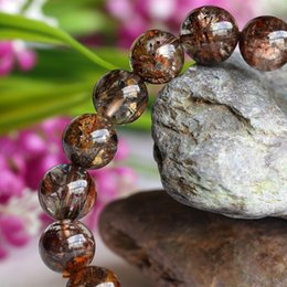 Clear Natural Genuine Coffee Mica Titanium Hair Needle Rutile Quartz Rutilated Finished Stretch Bracelet Round Jewelry beads 10mm 04097