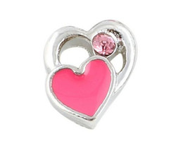 20PCS lot Crystal Pink Heart DIY Alloy Floating Locket Charms Fit For Glass Living Magnetic Memory Locket Fashion Jewelrys