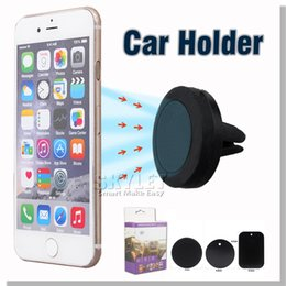 Wholesale Car Holder For Iphone Car Mount Air Vent Magnetic Universal Mobile Phone Holder For Samsung Galaxy S7 S6 Car Holder With Retail Package